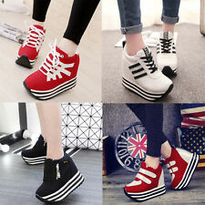 2016 Women's Students Lace Up High Platform Wedge Sneakers heels Casual shoes G