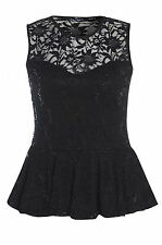 Womens Plus Size Black Floral Lace Design Sequin Peplum Top