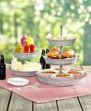 Party Serving Center Piece Galvanized Serving Trays 2 or 3 Tier Free Shipping