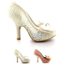 Ladies Irregular Choice Mal E Bow Court Shoes Bridal Fabric High Heels All Sizes