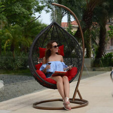 Outdoor Furniture Wicker Hanging Egg Swing Chair Stand Cushion Brown/Black/Gray