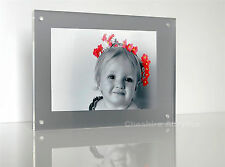"ACRYLIC 8x6"" desk block 20mm MAGNETIC  PHOTO PICTURE FRAME for a 6x4"" photo"