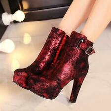Sexy Womens Platform High Block Heel Warm Lined Punk Womens Ankle Boots Shoes ee