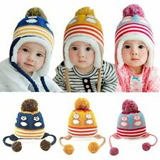 Cute Toddler Baby Kids Boy Girl Winter Warm Crochet Knit Cartoon Hat Earflap Cap