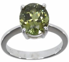 Green Tourmaline Gemstone Oval Solitaire Sterling Silver Ring