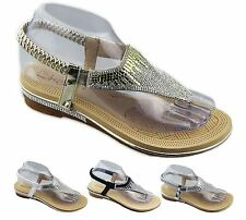 New Womens Diamante Sparkly Flat Wedding Sandals Summer Open Toe Slippers