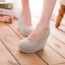 Womens Synthetic Suede High Heels Platforms & Wedges Casual Solid Pumps Shoes