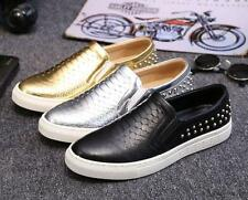Stylish Mens  studded punk flat round toe casual dress slip on loafer shoes new