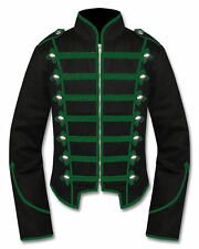 Men Green/Black Handmade Military Marching Band Drummer Jacket New Style