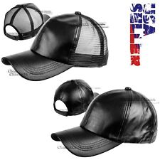 New PU Faux Leather Adjustable Baseball Cap Curved Trucker Solid Hat Mens Womens