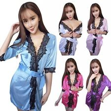 Sexy Women's Nightdress Satin Lace Kimono Sleepwear Lingerie Dressing Gown Robe