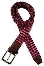 Tyler and Tyler Woven Zig Zag Belt - Black/Bright Pink