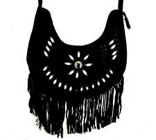 Black Fringe Suede Leather Bag Purse Shoulder Cross Body Hair Pipes Beads