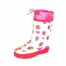 Older Girls Pink flower + Heart print drawstring top wellington rain boots NEW