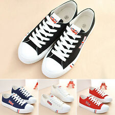 Women's Girls Non-Slip Low Top Shoes Lace Up Casual Canvas Sneakers Flat Shoes