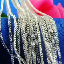 """Wholesale 1mm box 925 Sterling Solid Silver plated chain Necklace 16""""-30"""" pick"""