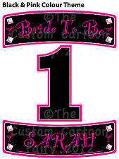 Personalised double name plates & number Iron On Hen Do T-shirt transfer set