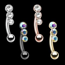 Rose Gold Triple Linear Gem Curved Barbell Eyebrow Ring Silver Body Jewelry Sexy