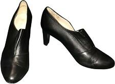 Used Ladies Peter Kaiser Black Leather Slip On 3inch Heels Size 8 (A.B)