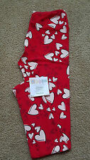 NWT LulaRoe OS Leggings, Valentine's Day red background with white hearts