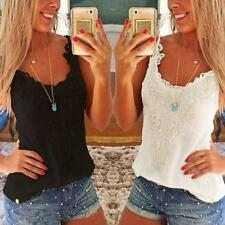 Women Sexy Slim Lace Camisole Vest Shirt Party Club Top Sleeveless O-Neck Tank