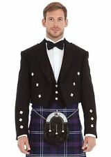 Scottish Black Formal Prince Charlie Kilt Jacket in 100% wool with Waistcoat