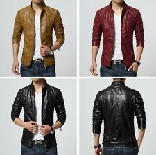 HOT FASHION Men's PU Leather Jacket  Slim Fit  Biker Motorcycle Coat Outwear