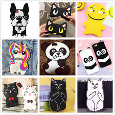 3D Cute Animals Cat Panda Cartoon Soft Silicone Case Cover Back Skin For iPhone
