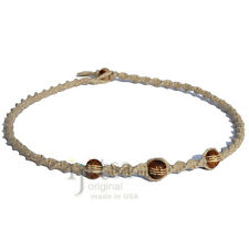Natural twisted hemp necklace with three brown bone beads, custom