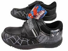 Boys Black Spiderman Marvel One Touch Fastening School Shoes