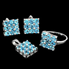 GLORIOUS REAL 4 MM ROUND TOP RICH SWISS BLUE TOPAZ 925 SILVER SET JEWELRY SET
