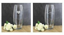 Personalised Engraved Glass Vase Birthday Mothers Day Wedding Anniversary Gift