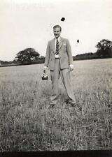 Old Vintage Photograph Black & White Photo Man In Suit Field Tie Jacket  Kettle