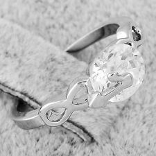 womens silver band infinity crystal wedding ring white gold filled free shipping