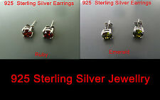 100% 925 Sterling silver STUDS earrings (Emerald, Ruby) Aussie Seller FREE POST