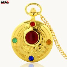 Antique Punk Sailor Moon Stone Gold Pocket Watch Quartz Necklace Pendant Chain
