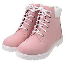 New Womens PINK Cleated Flat Low Heel Lace Up Rugged Ankle Combat Worker Boots