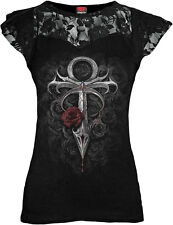Spiral Direct VAMPIRE'S KISS, Lace Layered Cap Sleeve Top Black|Vampire|Roses