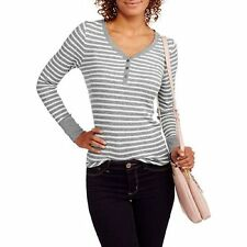 Faded Glory Women's Thermal Long-Sleeve Henley Shirt / Top