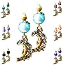 Earrings gold sun moon charm and pearl, choose color and clip on or pierced
