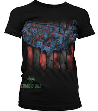 Zombie USA American Flag Red White Blue Country Outline Brains Juniors T-Shirt