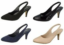 Ladies Spot On Mid Heeled Sling Back Court Shoes F9987