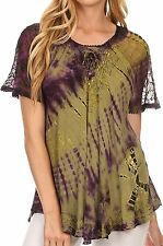 Sakkas Splenka Long Tie Dye Embroidered Corset Neck Cap Sleeve Blouse Shirt Top