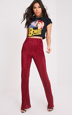 PrettyLittleThing Womens Ladies Follie Wine Pleated High Waisted Trousers