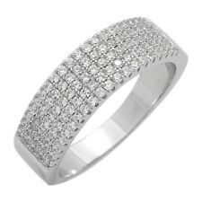 Sterling Silver 5 Lines Semi Eternity CZ Micropave Band Ring 6.5mm Wide
