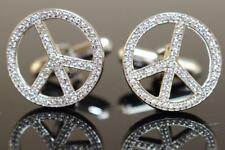 Mens Pair Sterling Silver 925 Micro Pave Set CZ Peace Sign Protest Cufflinks