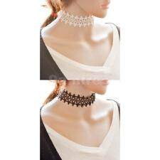 Women Gothic Bib Collar Statement Choker Lace Necklace Jewelry Gift Black/White