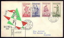 1960 Vintage FDC 1st day cover OLYMPIC GAMES Stadium Roma 1960 - 4 stamps