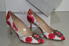 $965 NEW MANOLO BLAHNIK HANGISI 70 Floral Satin JEWELED Red SHOES 40.5 41.5