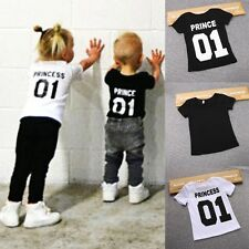 New Fashion Family Kids Boys Girls Letter Print Casual Short Sleeve T-Shirt LM